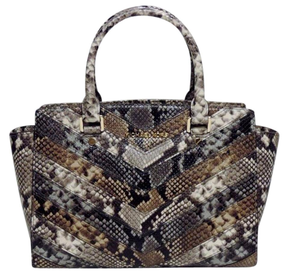 47c774acd3869 Michael Kors Selma Medium Python Snake Embossed Top Zip Natural Tan  Brown Gold Hardware Saffiano Leather Satchel