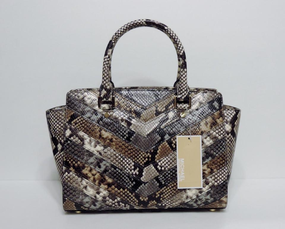 129044fe365e6 Michael Kors Purse Selma Selma Snake Mk Medium Selma Satchel in NATURAL TAN  BROWN Gold. 123456789101112