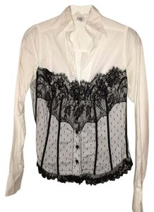Moda International Button Down Shirt black and white