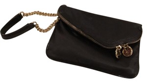 Henri Bendel Evening Clutch Black Satin Wristlet