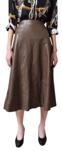 Vakko High Wasted Leather A Line Skirt Brown
