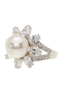 Kenneth Jay Lane CZ By Kenneth Jay Lane Pear CZ & Faux Pearl Ring