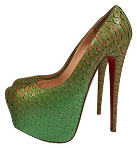 Christian Louboutin Python Luxury Cas Party Tex green Platforms