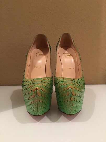 Christian Louboutin Python Luxury Cas Party Tex green Platforms Image 2