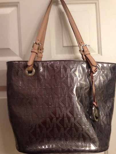 Michael Kors Tote in Silver with brown leather straps