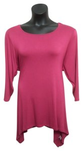 Spense Plus-size Size 2x Shark Bite Hem Cut-out Top Raspberry and Gold