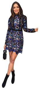 self-portrait Floral Mini Longsleeve Lace Dress