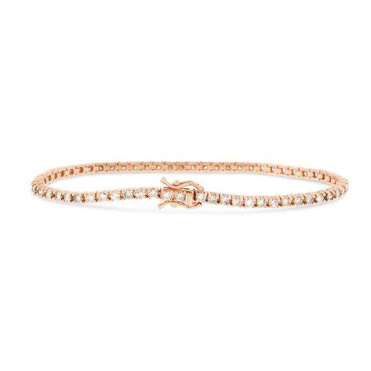 Other 2.48 CT Natural Diamond 2.7 mm Tennis Bracelet in Solid 14k Rose Gold Image 1