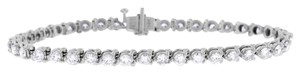 Other 3.50 Carat Natural Diamond Three Prong Bracelet In Solid 14k White