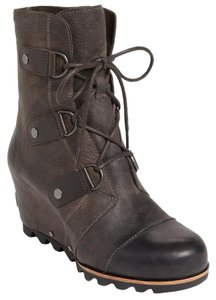 Sorel Lug Sole Wedge Platform Black Boots