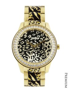 Guess Guess Women's Gold Animal Print Analog Watch U0465L1