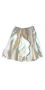 Elie Tahari Multi Color Print Linen Skirt