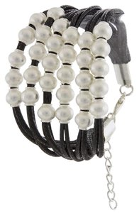 hausofgiovanni Metal Bead Clustered Natural Leather Bracelet