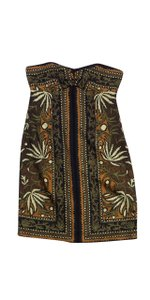 Nicole Miller short dress Brown Black Print Silk Strapless on Tradesy