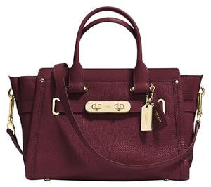 Coach Satchel Gold Crossbody Red Tote in burgundy