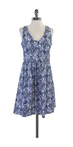 MILLY short dress Blue & White Print V-neck on Tradesy