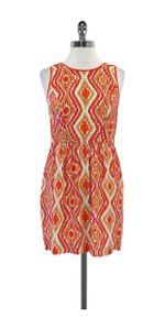 Shoshanna short dress Orange Pink White Print Silk on Tradesy