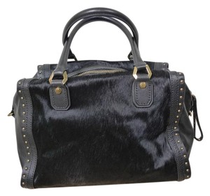 orYANY Leather Cow Hair Studded Satchel in BLACK