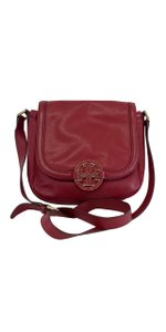 Tory Burch Red Pebbled Leather Cross Body Bag