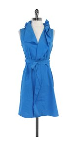 Elie Tahari short dress Bright Blue Ruffled Neckline on Tradesy