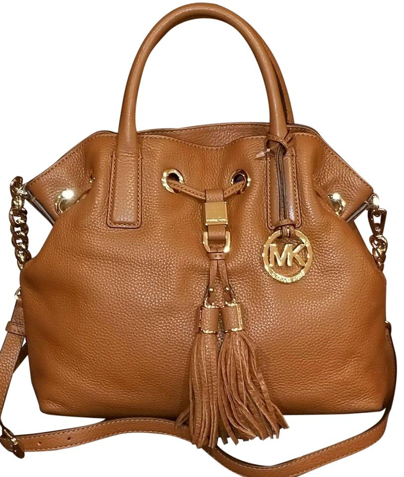 Michael Kors Camden Medium Drawstring Tassels Chain (New with Tags) Luggage BrownGold Hardware Pebbled Leather Satchel 36% off retail