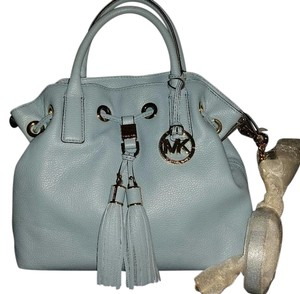 Michael Kors Mk Camden Blue Mk Blue Drawstring Tussels Satchel in POWDER LIGHT Blue/Gold hardware