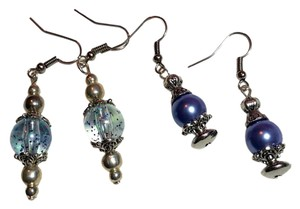 Other New 2 Pair Blue Silver Tone Glass & Pearl Earrings J3116