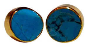 Other New Gold Tone Turquoise Stud Earrings j3117