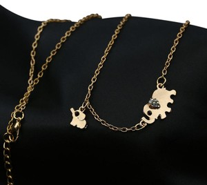 Other New Gold Tone Elephant Charm Necklace Thin Dainty J3118