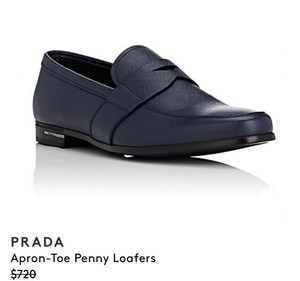 Prada New Men's Prada Saffiano Leather Penny Loafers / Dark Blue