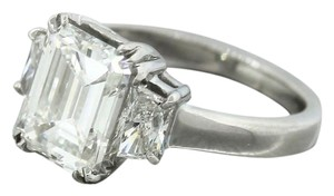 Other Ladies Modern Platinum 3.74ctw Emerald Cut Diamond Engagement Ring GIA