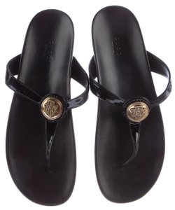 Gucci Gg Gold Hardware Patent Leather Hysteria Black, Gold Sandals