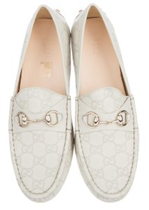 Gucci Square Toe Loafer Horsebit Gold Hardware Off White Grey Flats