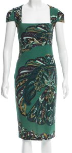 Emilio Pucci Gold Hardware Cut-out Wool Floral Print Dress