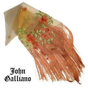 John Galliano embroidered sheer shaw