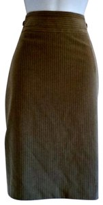 Rafaella Fishtail Pencil Pinstripe Fitted High Waist Skirt Tan