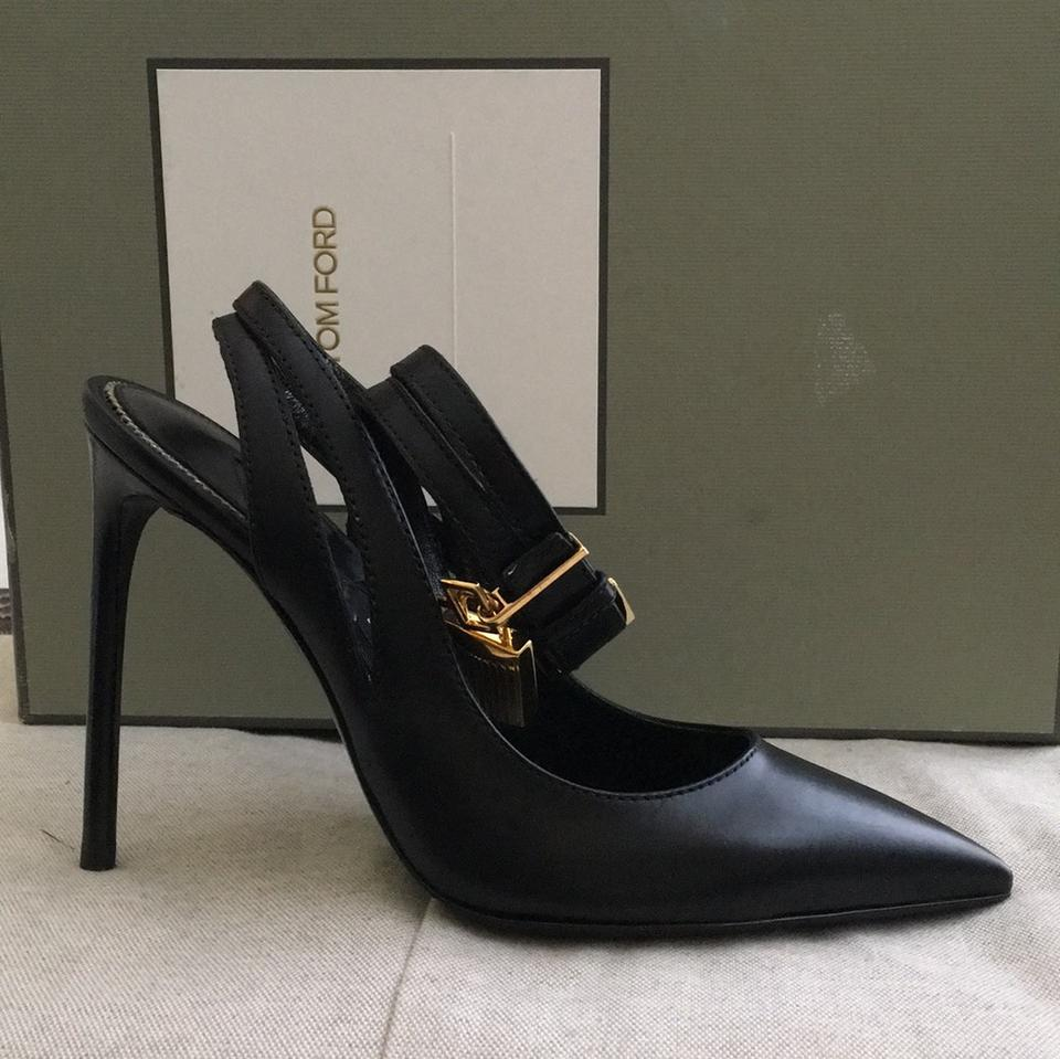 567958ae37c Tom Ford Black New Leather Ankle-lock 105 Mm Pumps Size US 7 Regular ...