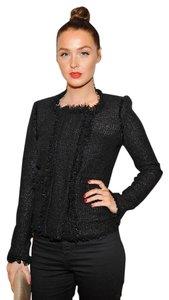Isabel Marant Tweed Fringe Fringed Fitted Night Out Black Blazer