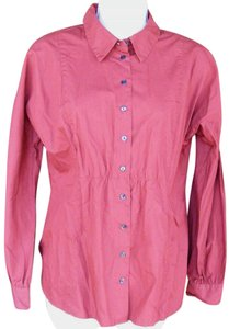 J. Jill Career Long Sleeve Organic Gathered Button Down Shirt Darker red