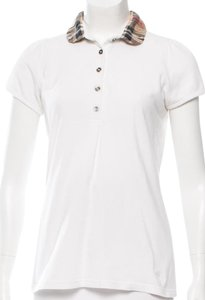 Burberry Nova Check Cotton Monogram Plaid Polo T Shirt Beige, White