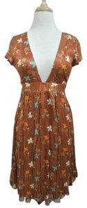 Free People short dress copper Silk Floral Empire Waist Short Sleeve V-neck on Tradesy