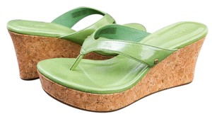 UGG Australia Wedge Natassia Cork Leather Green Grass Patent Sandals