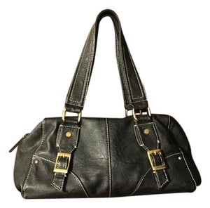 Tommy Hilfiger Leather Buckles Satchel in Black