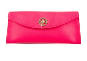 Tory Burch Textured Amanda Gold Hardware Reva Austin Pink, Gold Clutch