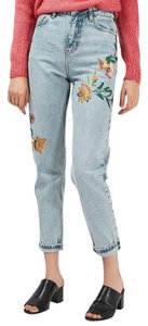 Topshop Floral Mom High Waist Embroidery Straight Leg Jeans-Light Wash