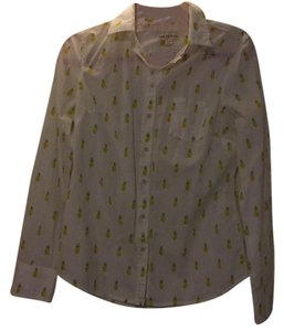 Merona Button Down Shirt White, yellow, green