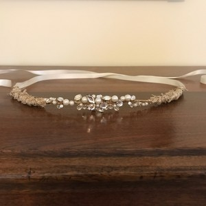 Gold Bridal Belt With Rhinestones And Pearls