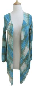 Anthropologie Plaid Open Front Cardigan Draped Asymmetric Sweater