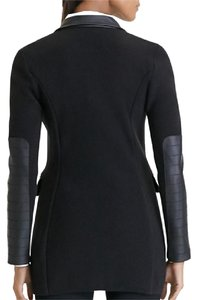 Lauren Ralph Lauren Knit Faux Leather Black Blazer