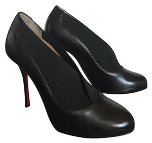 Christian Louboutin Red Bottom Designer Almond Toe Bootie Boot Black Pumps